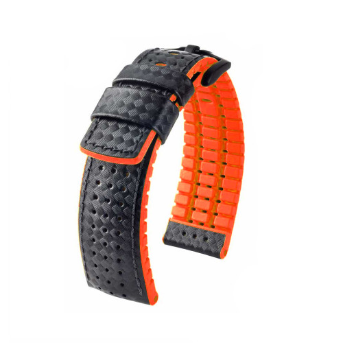 22mm Black Hirsch Ayrton Performance Series Watch Strap with Red Backing and Siding and Premium Caoutchouc Lining | Panatime.com