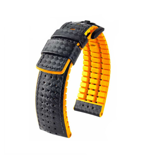 22mm Black Hirsch Ayrton Performance Series Watch Strap with Orange Backing and Siding and Premium Caoutchouc Lining | Panatime.com