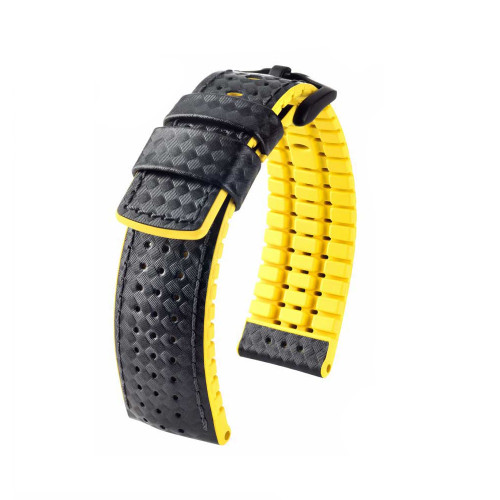 20mm Black Hirsch Ayrton Performance Series Watch Strap with Yellow Backing and Siding and Premium Caoutchouc Lining | Panatime.com