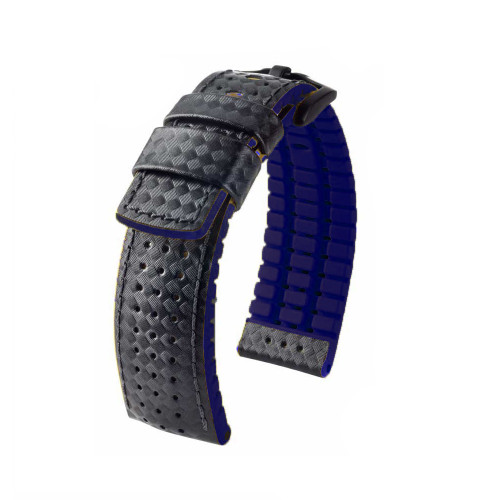 22mm Black Hirsch Ayrton Performance Series Watch Strap with Blue Backing and Siding and Premium Caoutchouc Lining   Panatime.com