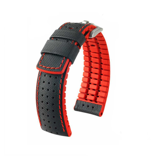 20mm Black Hirsch Robby Performance Series Watch Strap with Red Backing, Siding & Stitching - Premium Caoutchouc Lining | Panatime.com