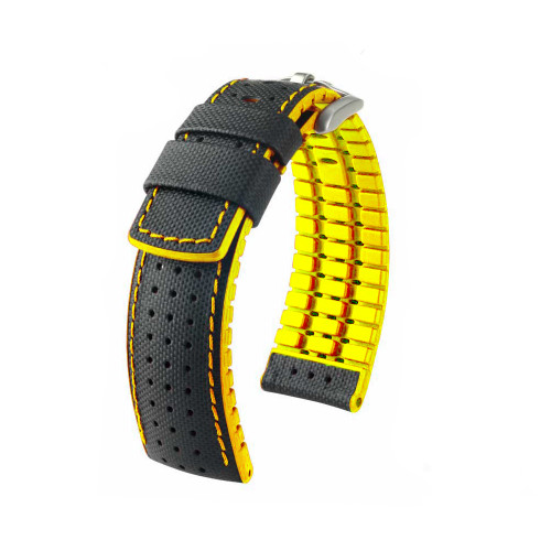 20mm Black Hirsch Robby Performance Series Watch Strap with Yellow Backing, Siding & Stitching - Premium Caoutchouc Lining | Panatime.com