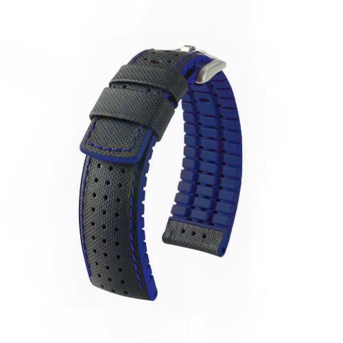 22mm Black Hirsch Robby Performance Series Watch Strap with Blue Backing, Siding & Stitching - Premium Caoutchouc Lining | Panatime.com