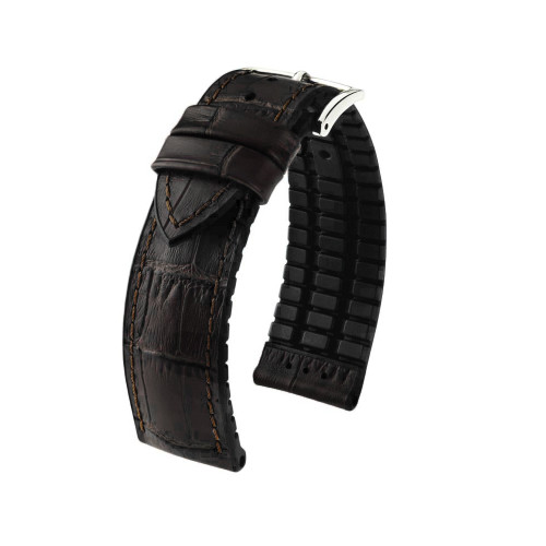 22mm Black Hirsch Paul - Hirsch Performance Series Embossed Italian Calfskin Watch Strap with Premium Caoutchouc Lining   Panatime.com