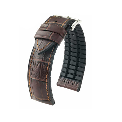 20mm Brown Hirsch Paul - Hirsch Performance Series Embossed Italian Calfskin Watch Strap with Premium Caoutchouc Lining | Panatime.com