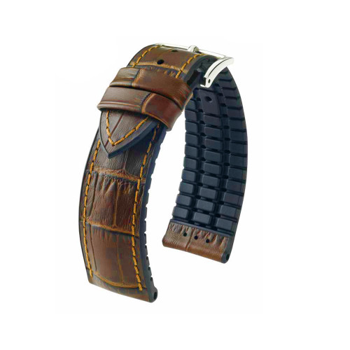 18mm Golden Brown Hirsch Paul - Hirsch Performance Series Embossed Italian Calfskin Watch Strap with Premium Caoutchouc Lining | Panatime.com