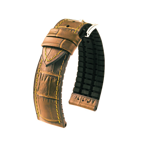 18mm Honey Hirsch Paul - Hirsch Performance Series Embossed Italian Calfskin Watch Strap with Premium Caoutchouc Lining | Panatime.com