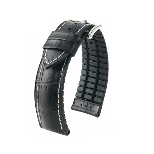 24mm Black Hirsch George - Hirsch Performance Series Embossed Italian Calfskin Watch Strap with White Stitching & Premium Caoutchouc Lining | Panatime.com