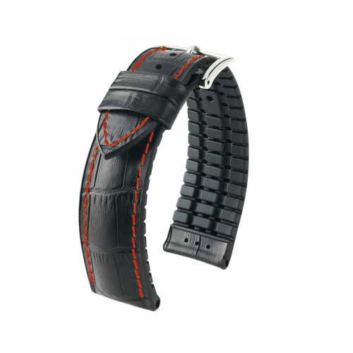 24mm Black Hirsch George - Hirsch Performance Series Embossed Italian Calfskin Watch Strap with Red Stitching & Premium Caoutchouc Lining | Panatime.com