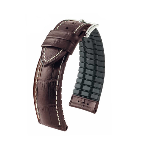 22mm Brown Hirsch George - Hirsch Performance Series Embossed Italian Calfskin Watch Strap - Premium Caoutchouc Lining | Panatime.com