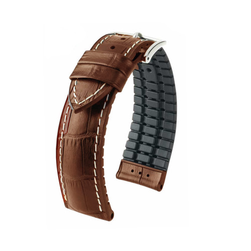24mm Golden Brown Hirsch George - Hirsch Performance Series Embossed Italian Calfskin Watch Strap - Premium Caoutchouc Lining | Panatime.com
