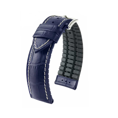 20mm Blue Hirsch George - Hirsch Performance Series Embossed Italian Calfskin Watch Strap - Premium Caoutchouc Lining | Panatime.com