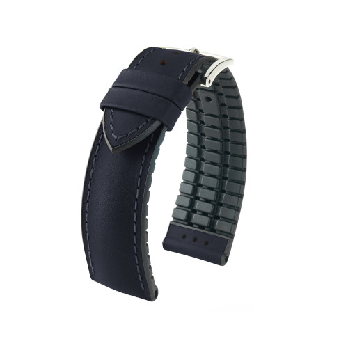 22mm Black Hirsch James - Hirsch Performance Series Vegetable Tanned Italian Calfskin Watch Strap with Premium Caoutchouc Lining | Panatime.com