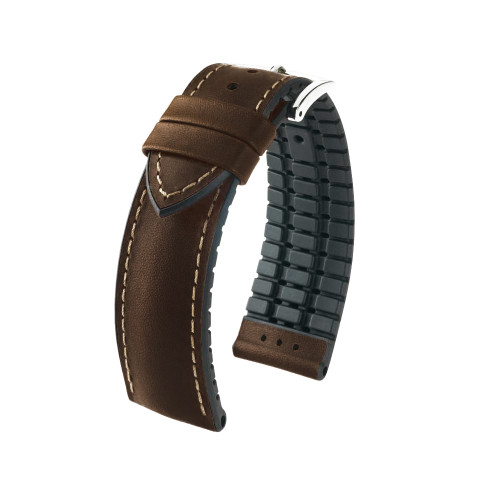 22mm Brown Hirsch James - Hirsch Performance Series Vegetable Tanned Italian Calfskin Watch Strap with Premium Caoutchouc Lining | Panatime.com