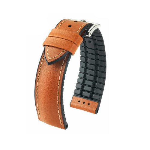 20mm Golden Brown Hirsch James - Hirsch Performance Series Vegetable Tanned Italian Calfskin Watch Strap with Premium Caoutchouc Lining | Panatime.com