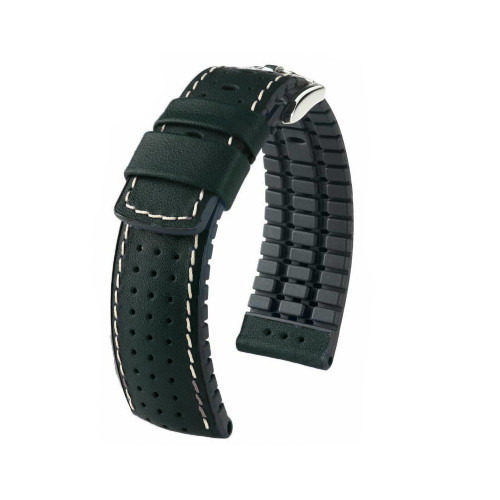 24mm Black Hirsch Tiger - Hirsch Performance Series Perforated Calfskin Watch Strap | Panatime.com