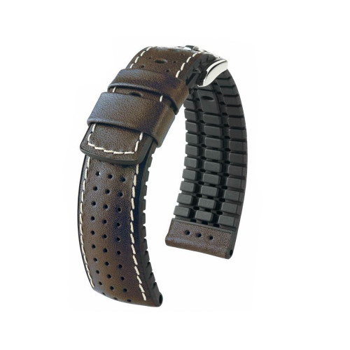 18mm Brown Hirsch Tiger - Hirsch Performance Series Perforated Calfskin Watch Strap | Panatime.com