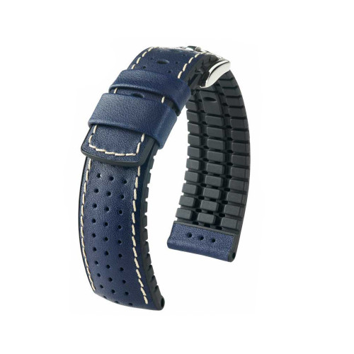 24mm Blue Hirsch Tiger - Hirsch Performance Series Perforated Calfskin Watch Strap | Panatime.com