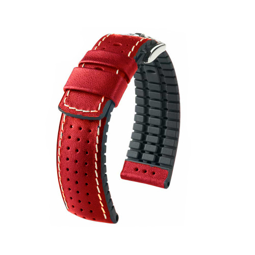 22mm Red Hirsch Tiger - Hirsch Performance Series Perforated Calfskin Watch Strap | Panatime.com
