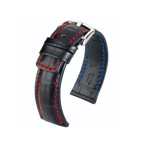 24mm Black Hirsch Grand Duke Embossed Italian Calfskin Watch Strap with Red Stitching   Panatime.com