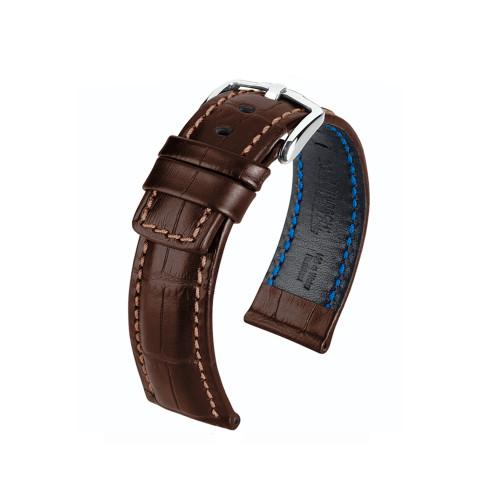 22mm Brown Hirsch Grand Duke Embossed Italian Calfskin Watch Strap with Brown Stitching   Panatime.com