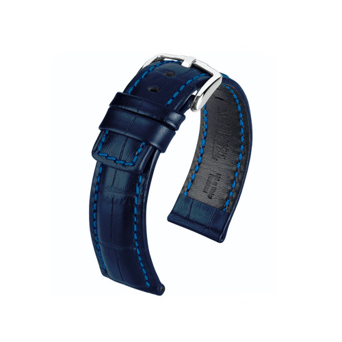 20mm Blue Hirsch Grand Duke Embossed Italian Calfskin Watch Strap with Match Stitching | Panatime.com