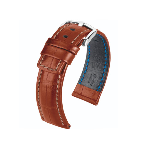 18mm Golden Brown Hirsch Grand Duke Embossed Italian Calfskin Watch Strap with Match Stitching | Panatime.com