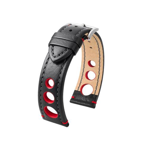 20mm Black Hirsch Rally Watch Strap with Match Stitching & Red Siding | Panatime.com