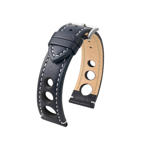 20mm Black Hirsch Rally Watch Strap with White Stitching & Match Siding | Panatime.com