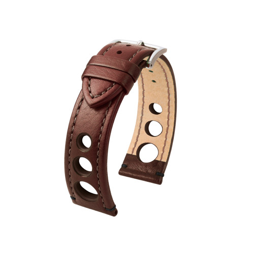 18mm Brown Hirsch Rally Watch Strap with Match Stitching & Siding | Panatime.com
