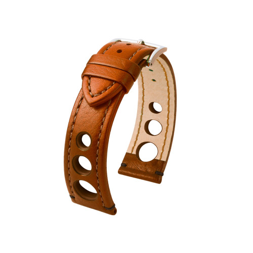18mm Golden Brown Hirsch Rally Watch Strap with Match Stitching & Siding | Panatime.com