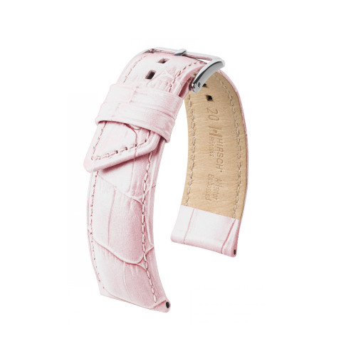 18mm Ladies Hirsch White Princess Embossed Italian Calfskin Watch Strap | Panatime.com