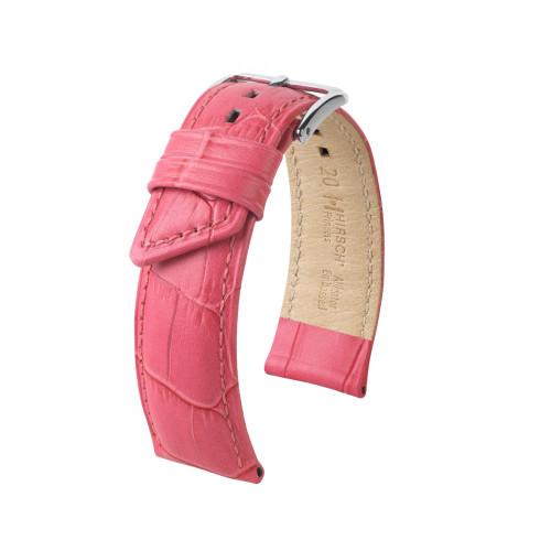 18mm Ladies Hirsch Pink Princess Embossed Italian Calfskin Watch Strap   Panatime.com