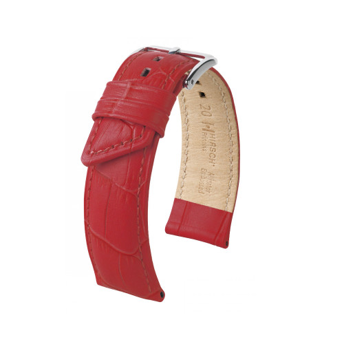 20mm Ladies Hirsch Red Princess Embossed Italian Calfskin Watch Strap | Panatime.com