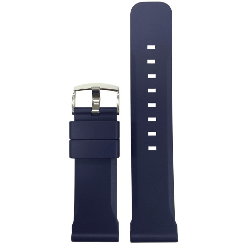 24mm Dark Blue Bonetto Cinturini Model 317 - Genuine NBR Italian Rubber Watch Strap | Panatime.com