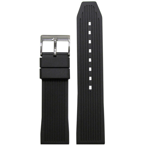 24mm Black Bonetto Cinturini Model 322 Striped Diver- Genuine NBR Italian Rubber Watch Strap | Panatime.com
