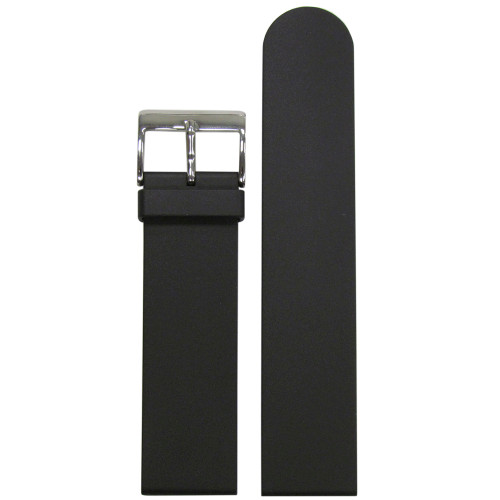 22mm Black Bonetto Cinturini Model 322 Smooth Diver- Genuine NBR Italian Rubber Watch Strap | Panatime.com