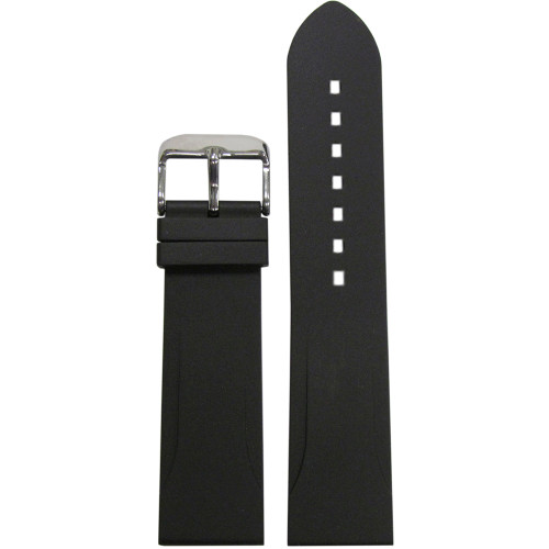22mm Black Bonetto Cinturini Model 315 Diver - Genuine NBR Italian Rubber Watch Strap | Panatime.com
