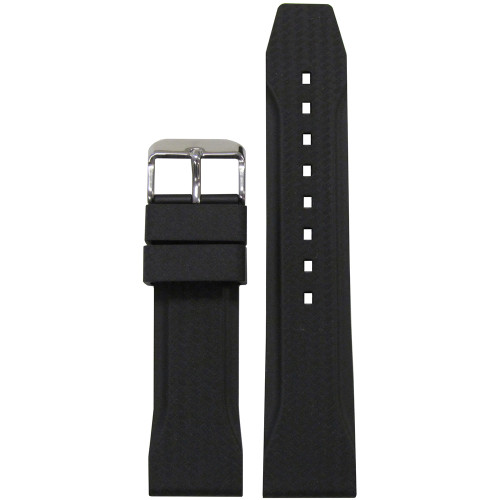 22mm Black Bonetto Cinturini Model 324 Carbon Etching - Genuine NBR Italian Rubber Watch Strap | Panatime.com