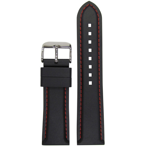 22mm Black Bonetto Cinturini Model 325 Red Stitched Diver - Genuine NBR Italian Rubber Watch Strap | Panatime.com