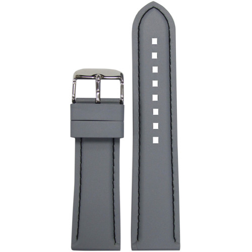20mm Grey Bonetto Cinturini Model 325 Black Stitched Diver - Genuine NBR Italian Rubber Watch Strap | Panatime.com