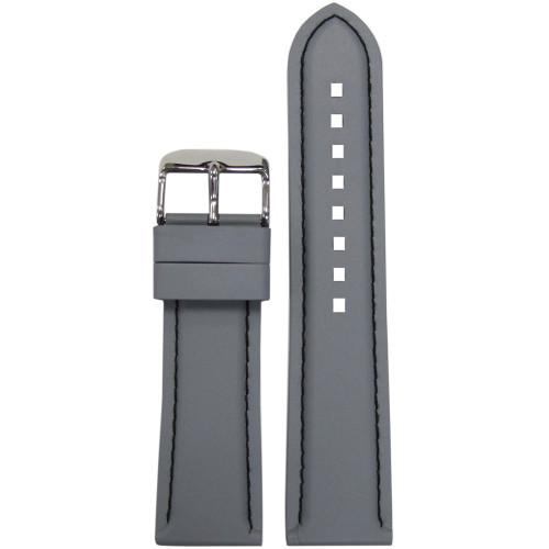 20mm Grey Bonetto Cinturini Model 325 Black Stitched Diver - Genuine NBR Italian Rubber Watch Strap | Panatime.com