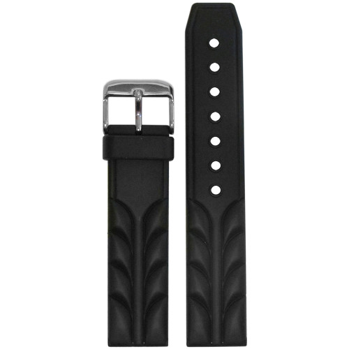 20mm Black Bonetto Cinturini Model 287 Sport Diver- Genuine NBR Italian Rubber Watch Strap | Panatime.com