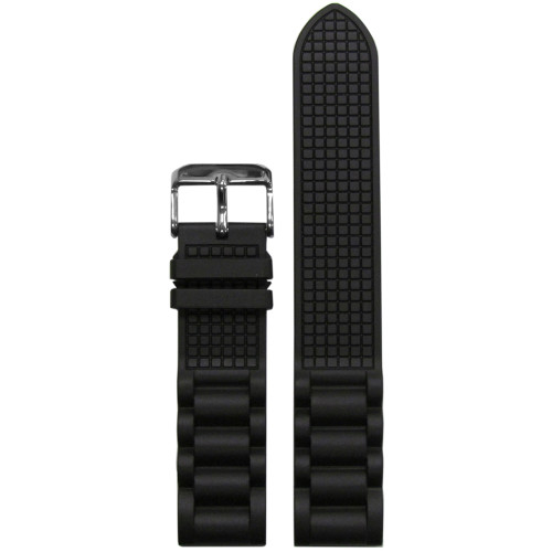 20mm Black Bonetto Cinturini Model 318 Oyster Diver- Genuine NBR Italian Rubber Watch Strap | Panatime.com