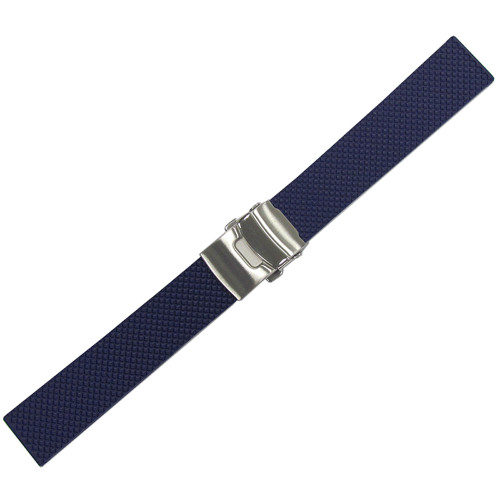 20mm Blue Bonetto Cinturini Model 300D Textured Diver- Genuine NBR Italian Rubber Watch Strap with Deploy Clasp | Panatime.com