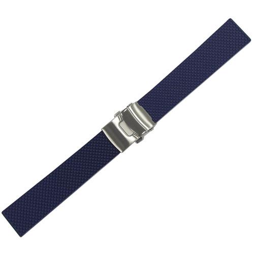20mm Blue Bonetto Cinturini Model 300D Textured Diver- Genuine NBR Italian Rubber Watch Strap with Deploy Clasp | Panatime.com