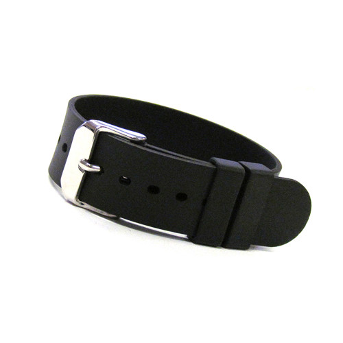 18mm Black Bonetto Cinturini Model 298 Smooth Rubber - Genuine NBR Italian Rubber Watch Strap | Panatime.com