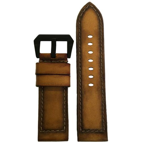 "26mm Gunny Straps ""ArtDeco #2"" - Genuine Deep Distressed Vintage Leather Watch Strap for Panerai | Panatime.com"