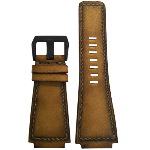 "24mm Gunny Straps ""ArtDeco #2"" - Genuine Deep Distressed Vintage Leather Watch Strap for B&R 