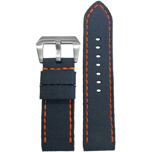 24mm Gunny Navy Canvas Watch Strap with Orange Stitching for Panerai | Panatime.com